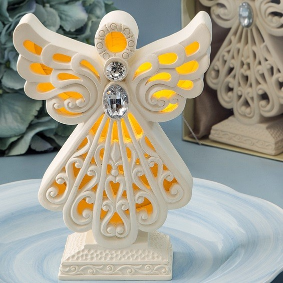 FashionCraft Glowing Ivory-Colored Standing Angel Statue w/ LED Light