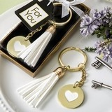 FashionCraft Gold-Colored-Metal Heart-Themed White Tassel Key Chain