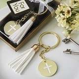 FashionCraft Gold-Colored-Metal Cross-Themed White Tassel Key Chain
