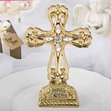 FashionCraft Magnificent Shiny Gold Cross Statue w/ Rhinestone Accents