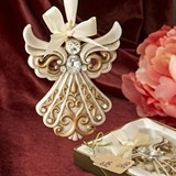 FashionCraft Antique-Ivory Angel Ornament with Gold Filigree Details