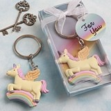 FashionCraft Delightful Unicorn Flying on a Rainbow Design Key Chain