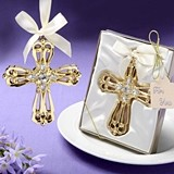 Majestic Gold-Colored Cross Ornament with Rhinestones by FashionCraft