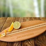 Personalized Surfboard-Themed Bamboo Cutting Board