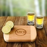 Personalized Bamboo Bar Board with Two Shot Glasses