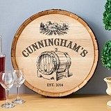 Personalized Wooden Wine Barrel Sign with Barrel of Vino Design