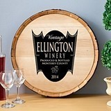 Personalized Wooden Wine Barrel Sign with Family Crest Winery Design