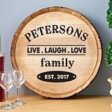 Personalized Wooden Wine Barrel Sign w/ Live Laugh Love Family Design
