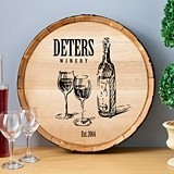 Personalized Wooden Wine Barrel Sign with Family Winery Name Design