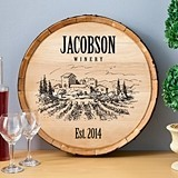Personalized Wooden Wine Barrel Sign with Vineyard Panorama Design