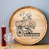 Personalized Wooden Wine Barrel Home Decor Sign with Wagon Design