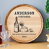 Personalized Wooden Wine Barrel Sign with Wine & Cheese Design