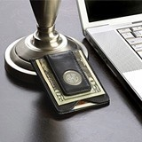 Monogrammed Black Leather Credit Card Wallet/Money Clip