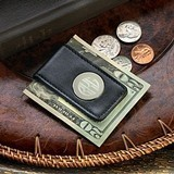 Handsome Monogrammed Black Leather Money Clip