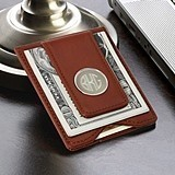 Monogrammed Brown Leather Wallet/Money Clip