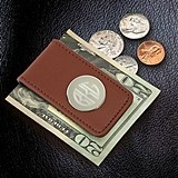 Monogrammed Brown Leather Magnetic Money Clip