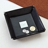 Personalized Classic Black Leather Stash Tray