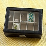 Beautiful Personalized Leather and Glass, Hinged-Lid Jewelry Box