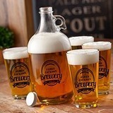 Personalized Craft Brewery Growler and Pint Glasses Set