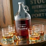 Personalized Distillery Growler and Low-Ball Glasses Set