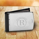 Monogrammed Brushed Stainless Steel & Rubber RFID-Blocking Wallet