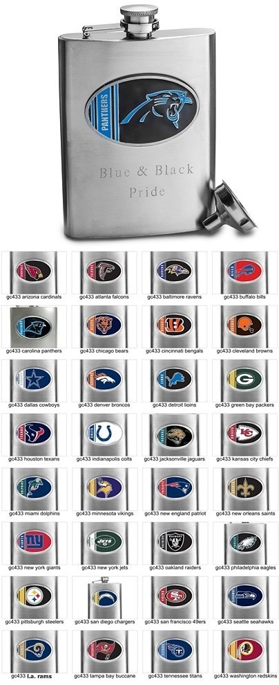 Officially-Licensed NFL Logo 8 oz. Stainless Steel Flask