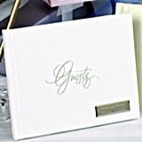 "Personalized Foil Script ""Guests"" Guest Book (Gold or Silver)"