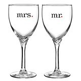 """Mr."" & ""Mrs."" Wine Glasses with Red Heart Accents"