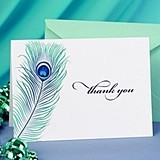 Hortense B Hewitt Peacock Feather Thank You Cards (Set of 50)