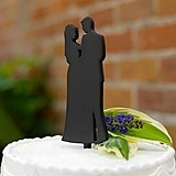 Black Silhouette Couple Cake Pick
