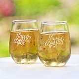 Personalized 'Happily Ever After' Stemless Wine Glasses (Set of 2)