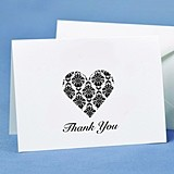 Hortense B Hewitt Damask Heart Thank You Cards (Set of 50)