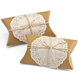 Hortense B Hewitt Kraft-Paper Pillow Boxes w/ Lace Doilies (Set of 12)