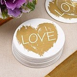 """Brush of Love"" Gold Heart Motif Coasters (Set of 25)"