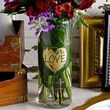 Personalizable 'Brush of Love' Gold Heart Motif Cylinder/Centerpiece