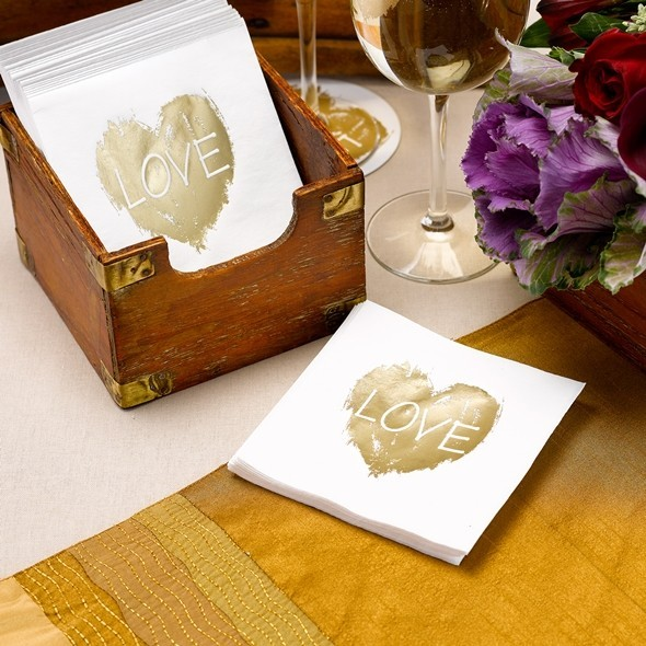 """Brush of Love"" Gold Heart Motif Paper Napkins (Set of 50)"