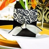 Hortense B Hewitt Black and Ivory Flourish Favor Boxes (Package of 25)