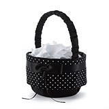 Black Satin Polka Dot Collection Flower Girl Basket