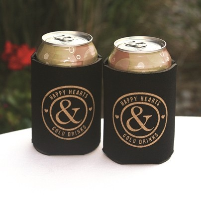 """""""Happy Hearts & Cold Drinks"""" Black Can Coolers (Set of 2)"""