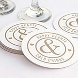 """Happy Hearts & Cold Drinks"" White Coasters (Set of 25)"