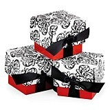 Filigree Design Favor Boxes with Red Bases (Package of 25)