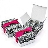 Dynamic Flourish Design White & Black Favor Boxes (Package of 25)