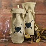 Hortense B Hewitt Heart and Arrows Design Burlap Wine Bag