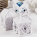 White Heart-Design Square Decorative Favor Boxes (Package of 25)
