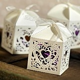 Heart-Motif Square Decorative Favor Boxes (Package of 25)