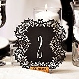 Black Paper Laser-Cut Table Number Cards (Numbers 1-10)