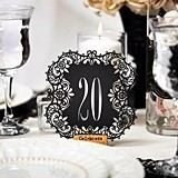 Black Paper Laser-Cut Table Number Cards (Numbers 11-20)
