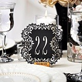 Black Paper Laser-Cut Table Number Cards (Numbers 21-30)