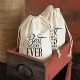 Best Day Ever Design Cotton Favor Bags (Package of 25)