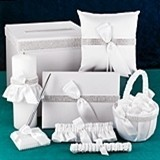 Hortense B Hewitt White Satin Bling Collection Wedding Accessories Set